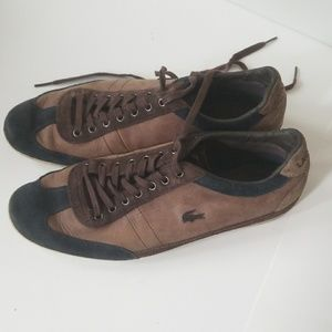 LACOSTE 9.5 MENS SHOES BROWN & black used